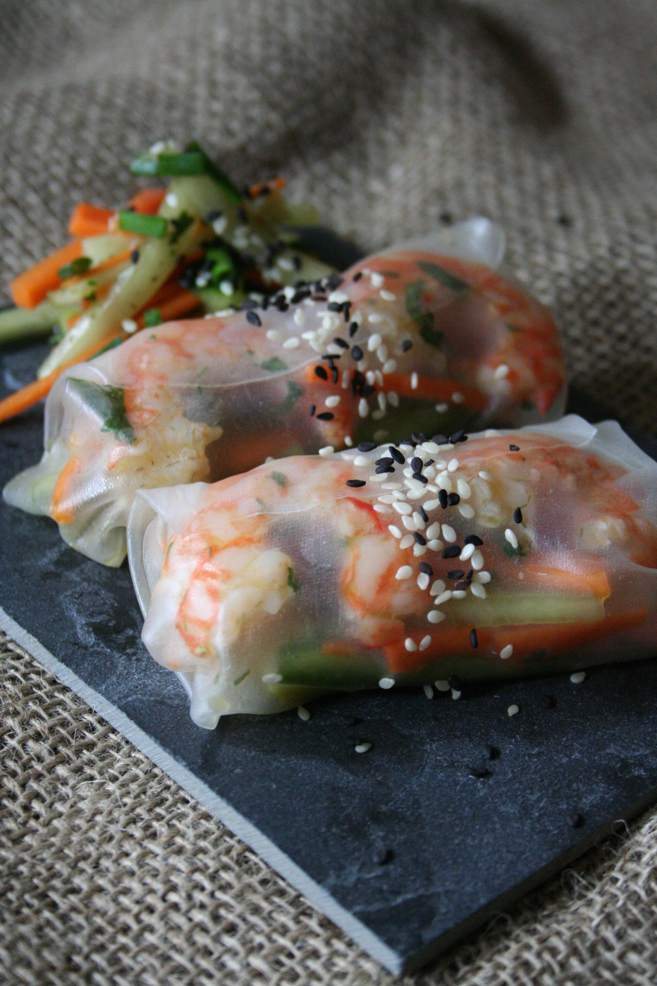 Závitky z rýžového papíru s krevetami a zeleninou