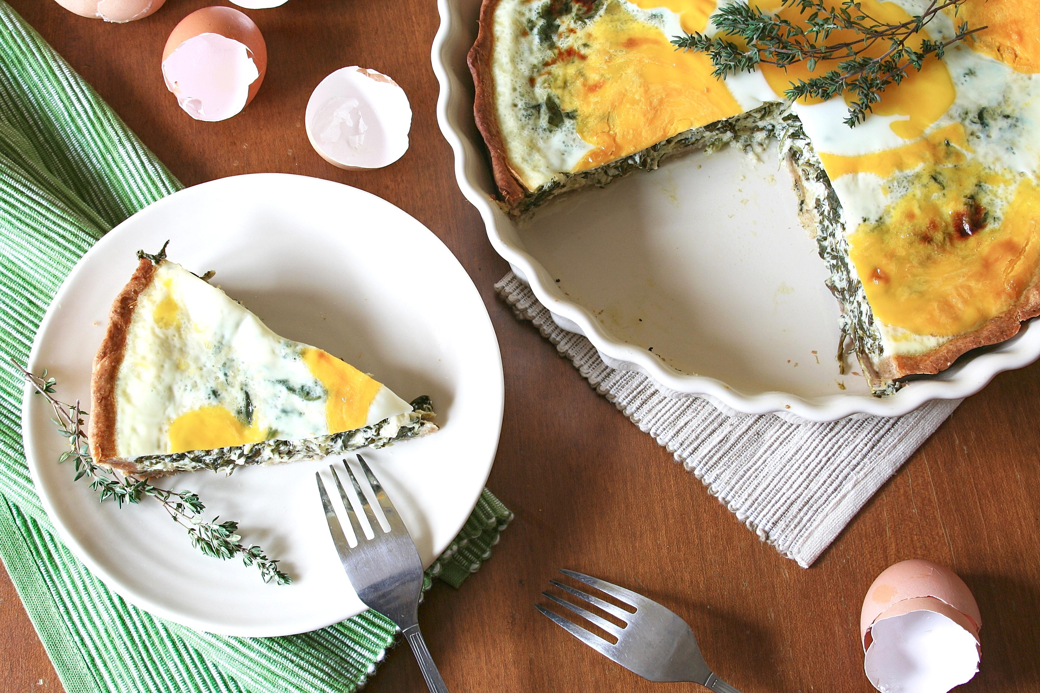 Špenátový quiche s vejci