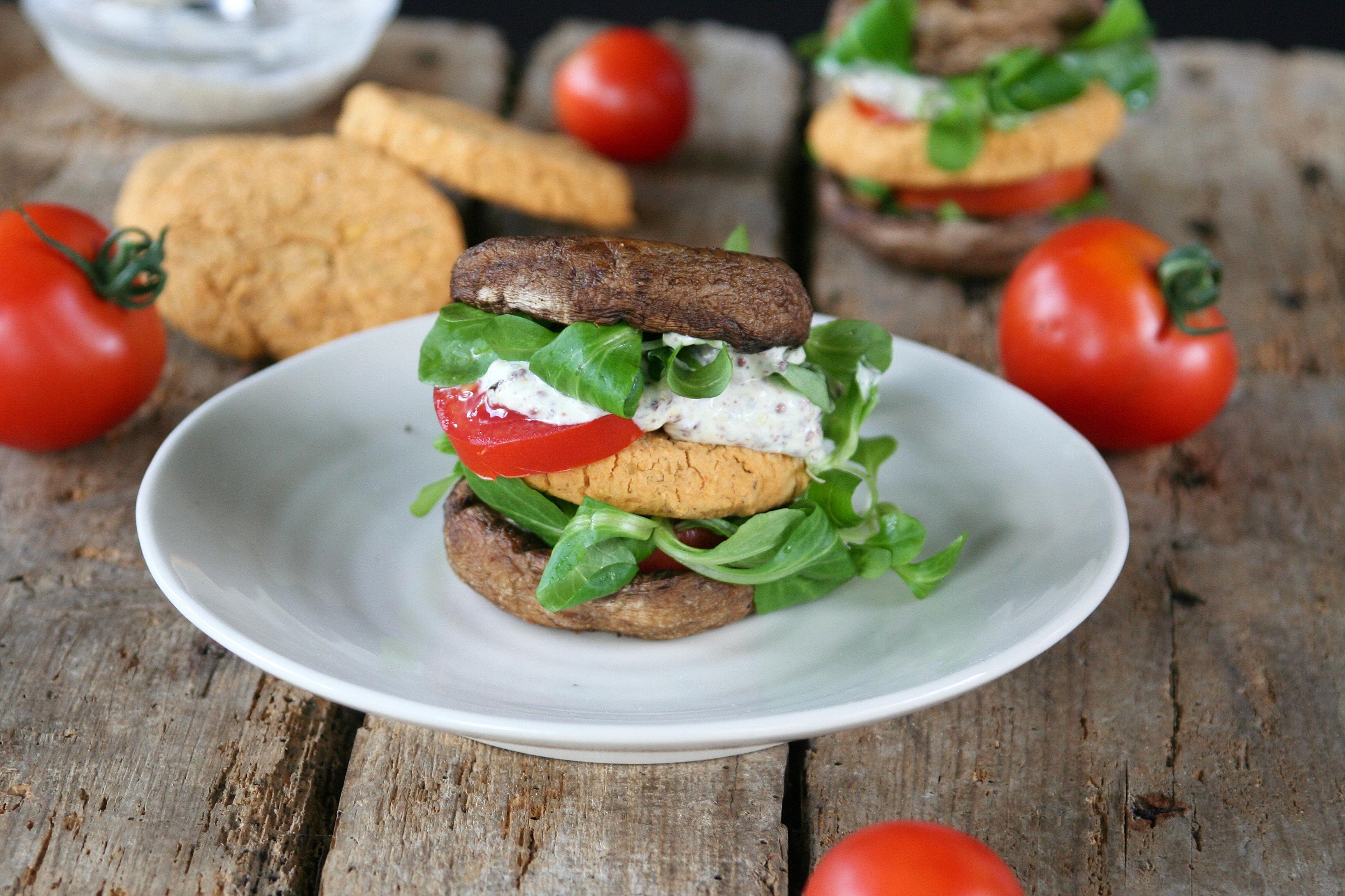 Čočkový vegan portobello burger