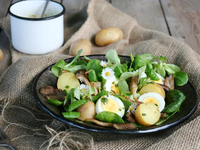 Salát s bramborami, vejci a hlívou aneb jak vypadá salát při dietě