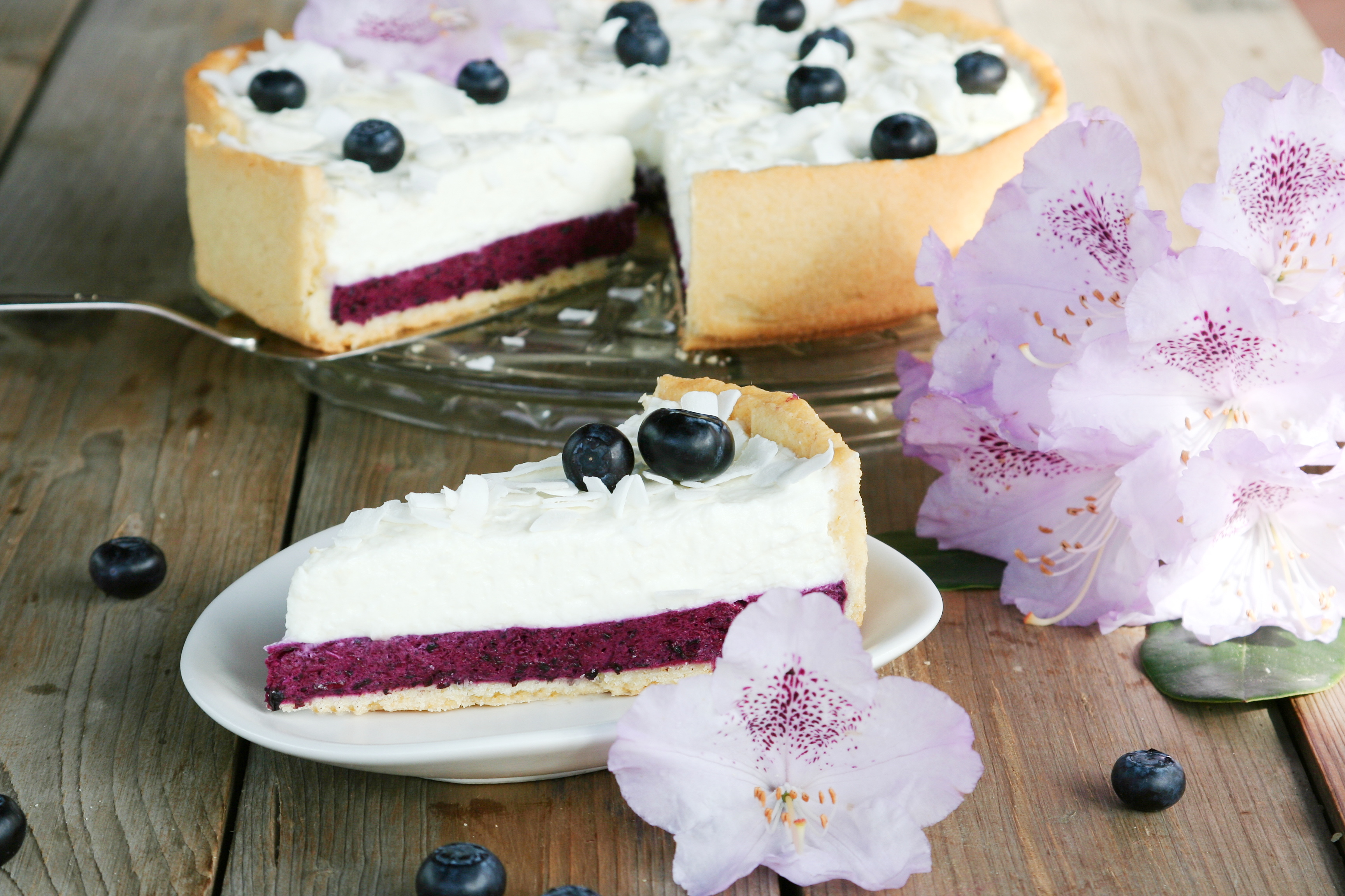 Borůvkový koláč se smetanovým krémem