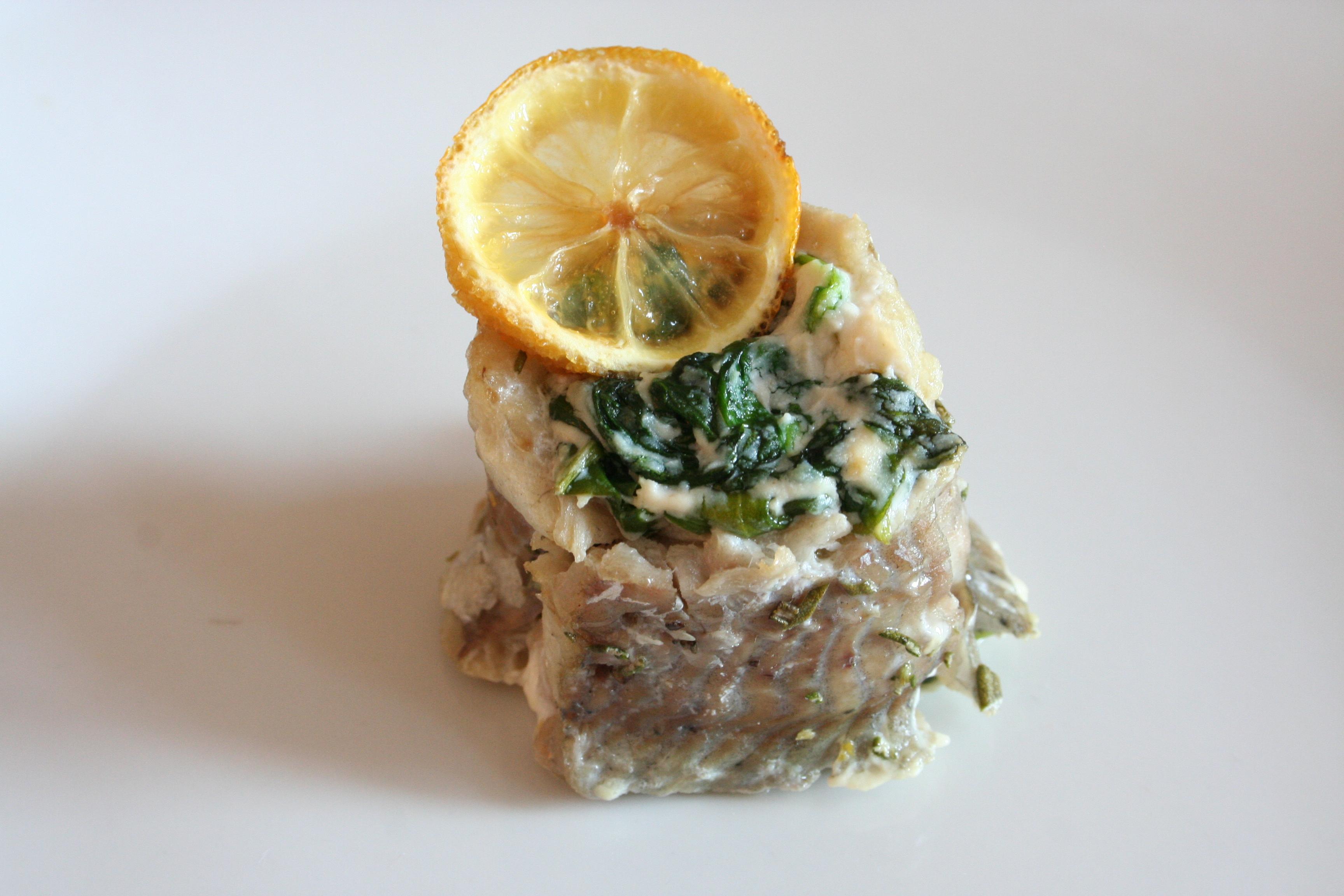 Rybí rolka se špenátem